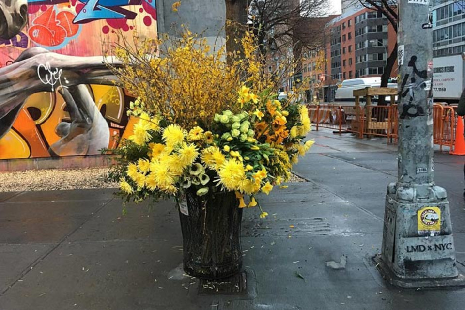 Why Are Giant Bouquets Popping Up in New York's Trash Cans?